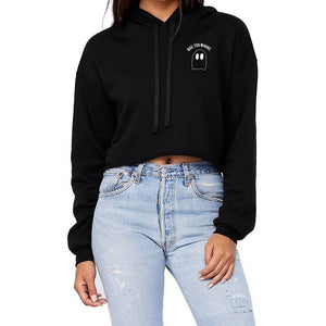 Boo You Whore Pocket Detail Cropped Hoodie - pinksundays