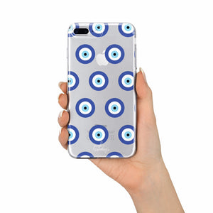 Evil Eye Clear Iphone Case, greek evil eye, minimalist pattern, minimalist evil eye, birthday gift, good luck phone case, blue and white
