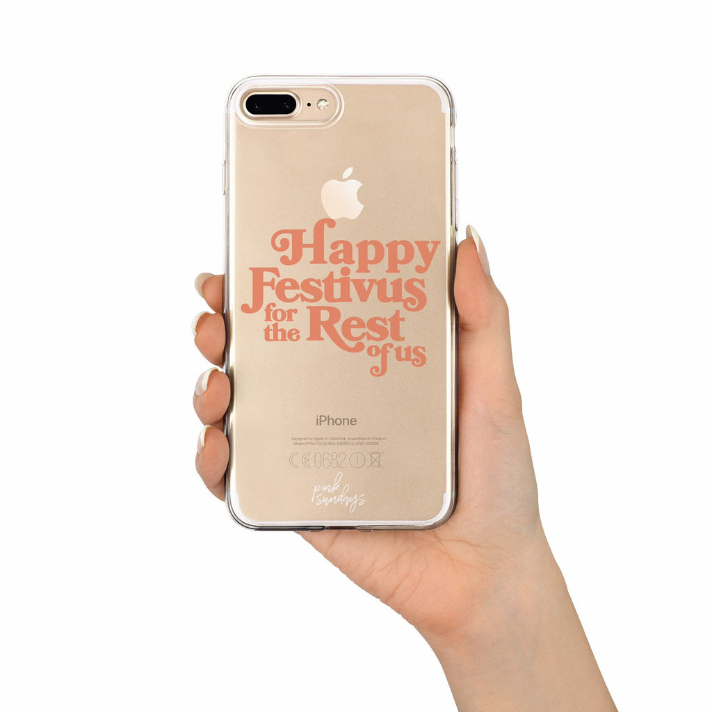 Happy Festivus For The Rest Of Us, Clear Iphone Case, 90s tv show holiday phone case, 90s phone case, stocking stuffer, 90s tv iphone case