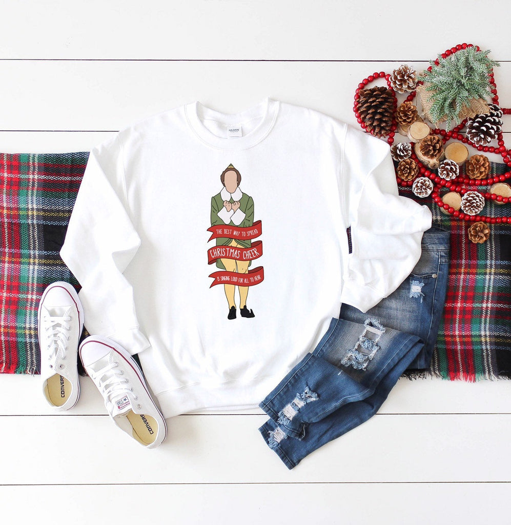 Elf sweater, crewneck sweatshirt, the best way to spread christmas cheer, elf christmas sweater, ugly christmas sweaters, unique holiday gif