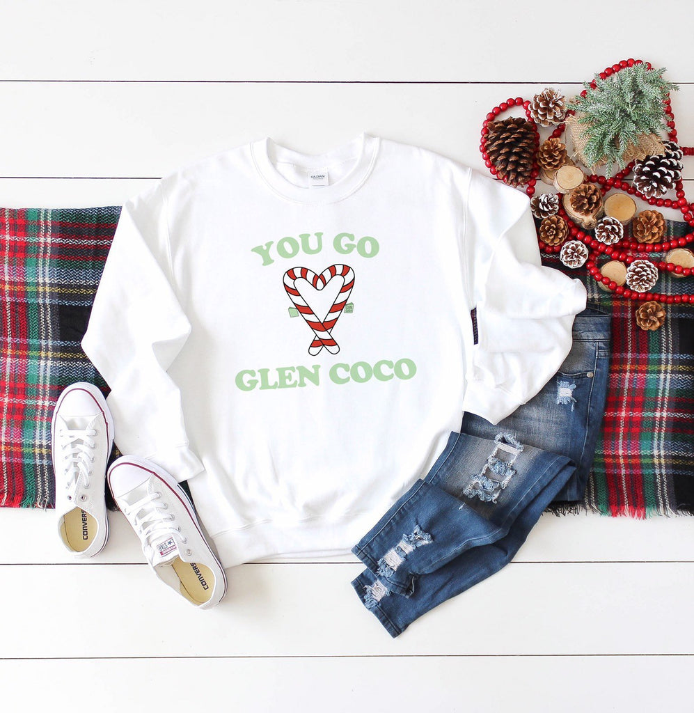 You Go Glen Coco, graphic sweater, mean girls christmas sweater, ugly christmas sweaters, funny holiday crewneck, unisex fit, holiday gift