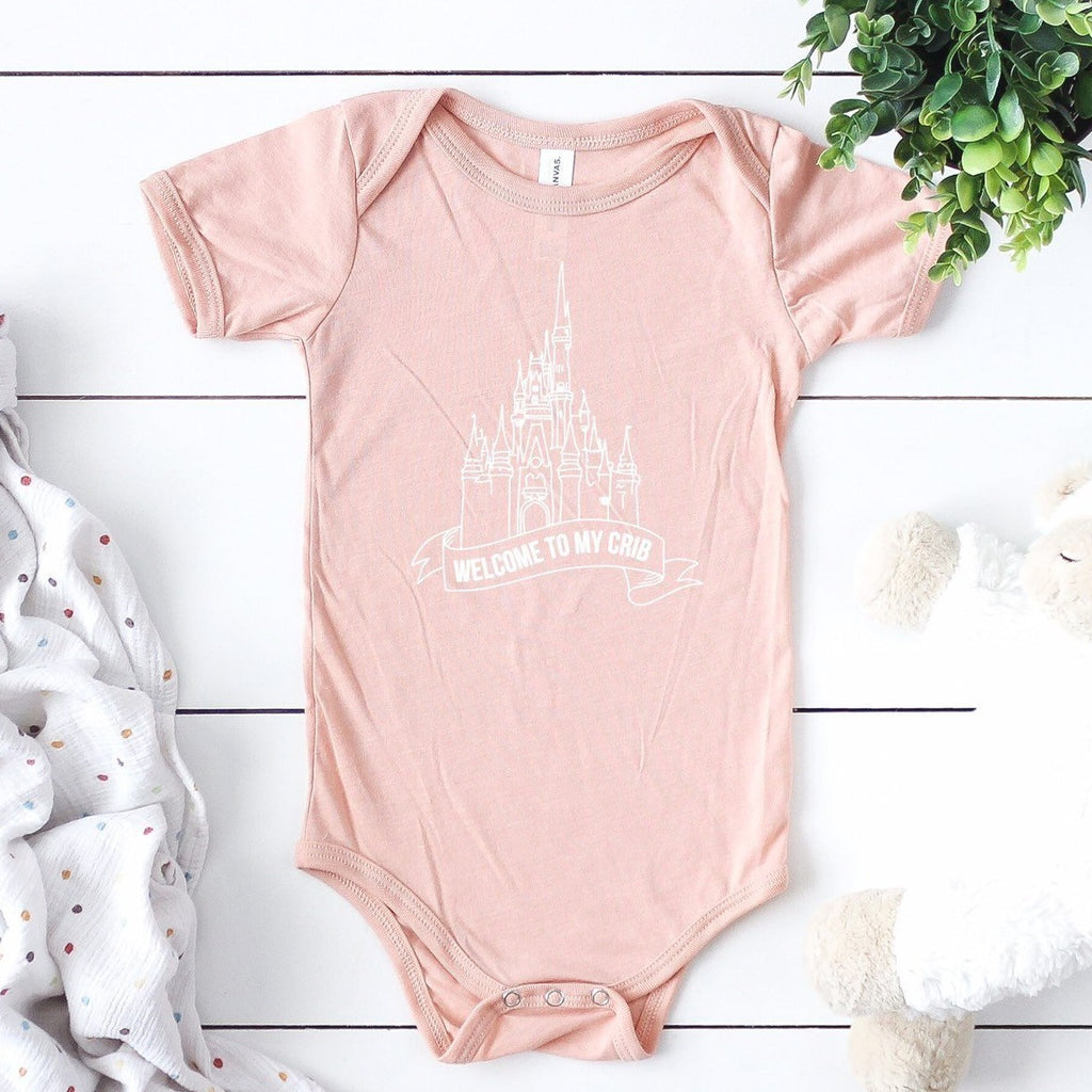Welcome to my crib baby bodysuit, disney castle baby onesie, princess, baby princess disney outfit, gift for baby girl, funny baby gift