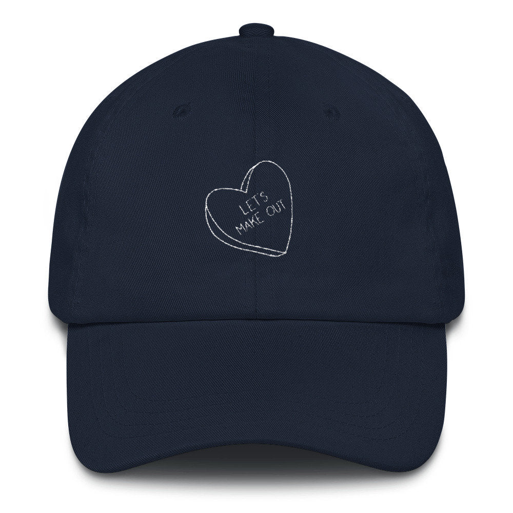 Let's Make Out Dad Hat, funny valentines day hat, valentines hat, baseball cap, valentines gift, heart candy hat, heart dad hat, gift ideas