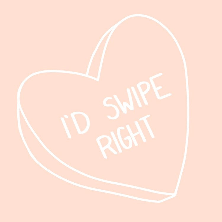 I'd Swipe Right Candy Heart Graphic Tee - pinksundays