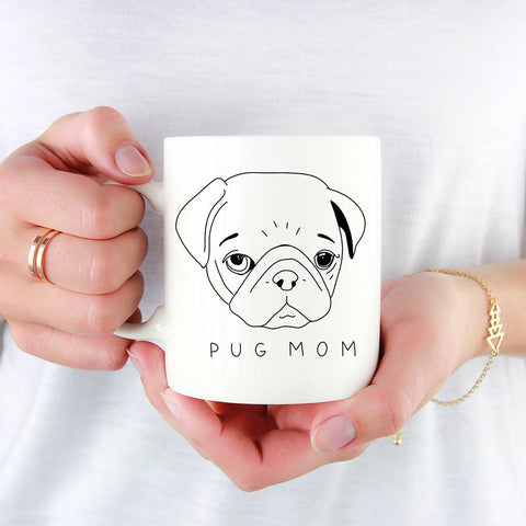 Pug Mom Mug, pug mug, dog mom, minimalist pug drawing, birthday gift, dog lover gift, mothers day dog gift, pug mum, coffee mug, pug gift