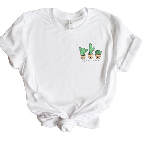 Plant Mom Graphic Tee, plant mom, plant lady, pocket detail graphic tee, graphic tee shirt, mothers day gift, plant lover gift, birthday
