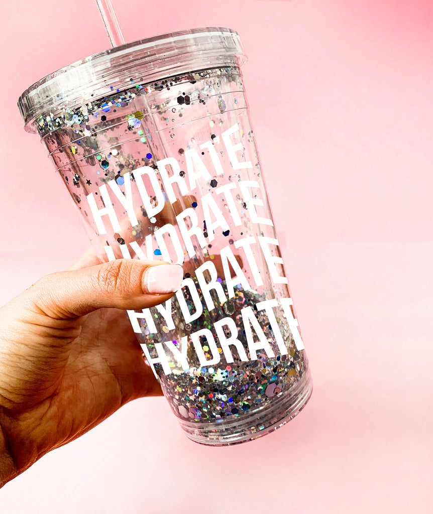 Hydrate Hydrate Hydrate Glitter Acrylic Tumbler, liquid glitter tumbler, water bottle, acrylic double wall tumbler, gift idea, party favors
