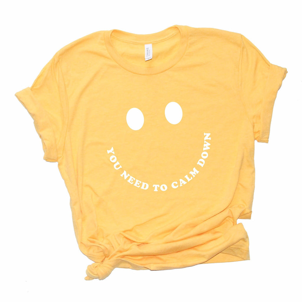 You Need To Calm Down Graphic Tee, Taylor tshirt, swiftie shirt, taylor fan gift idea, smiley shirt, millennial, pastel, taylor t shirt, fun