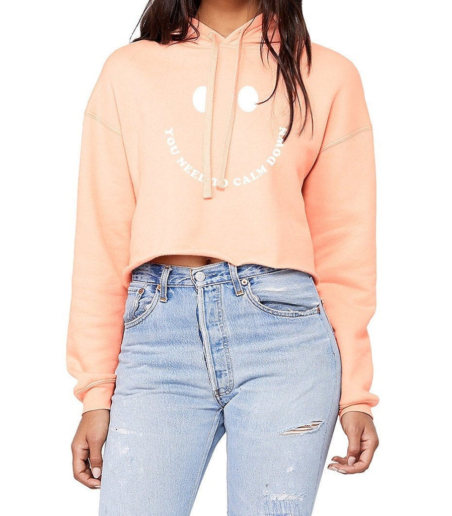You Need To Calm Down Cropped Hoodie - pinksundays