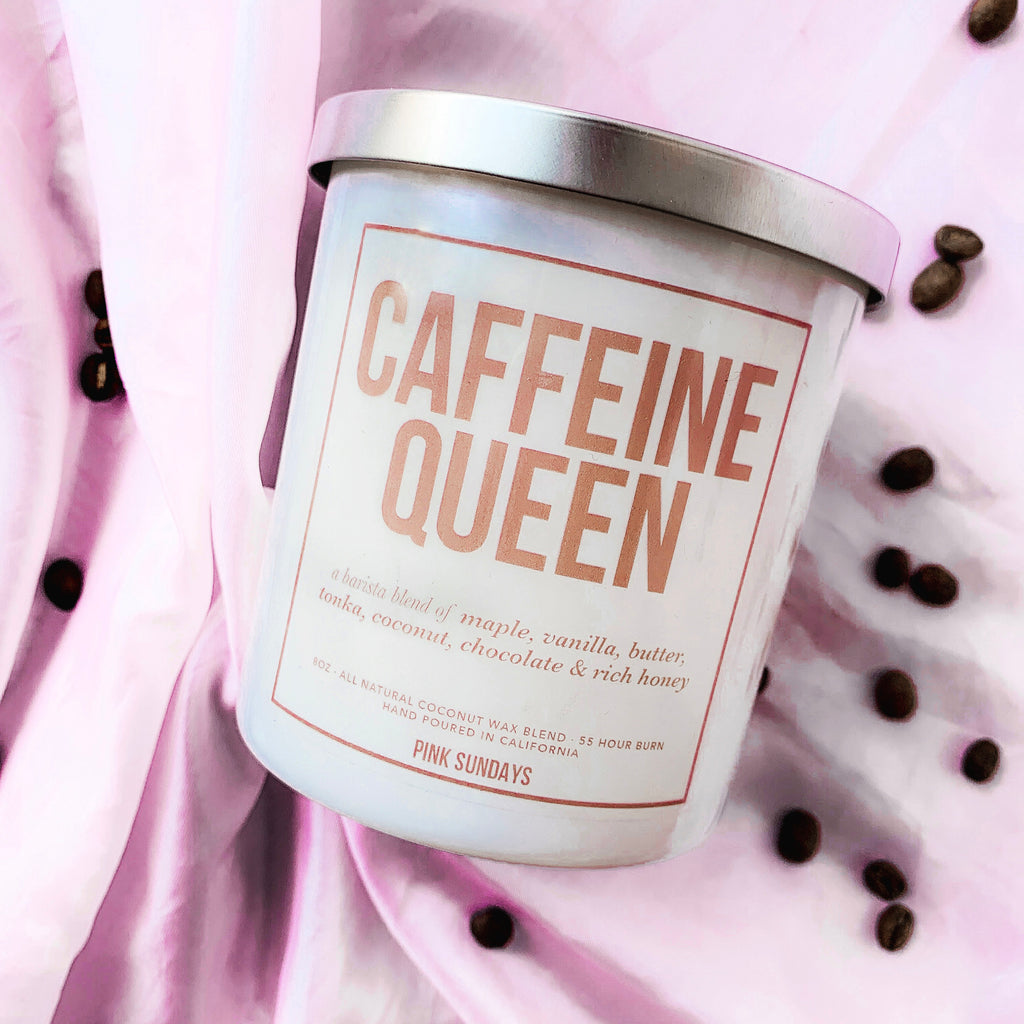Caffeine Queen Candle, coffee scented candle, coffee shop candle, naturally scented, coconut wax blend, fall candles, fall scents, gift idea