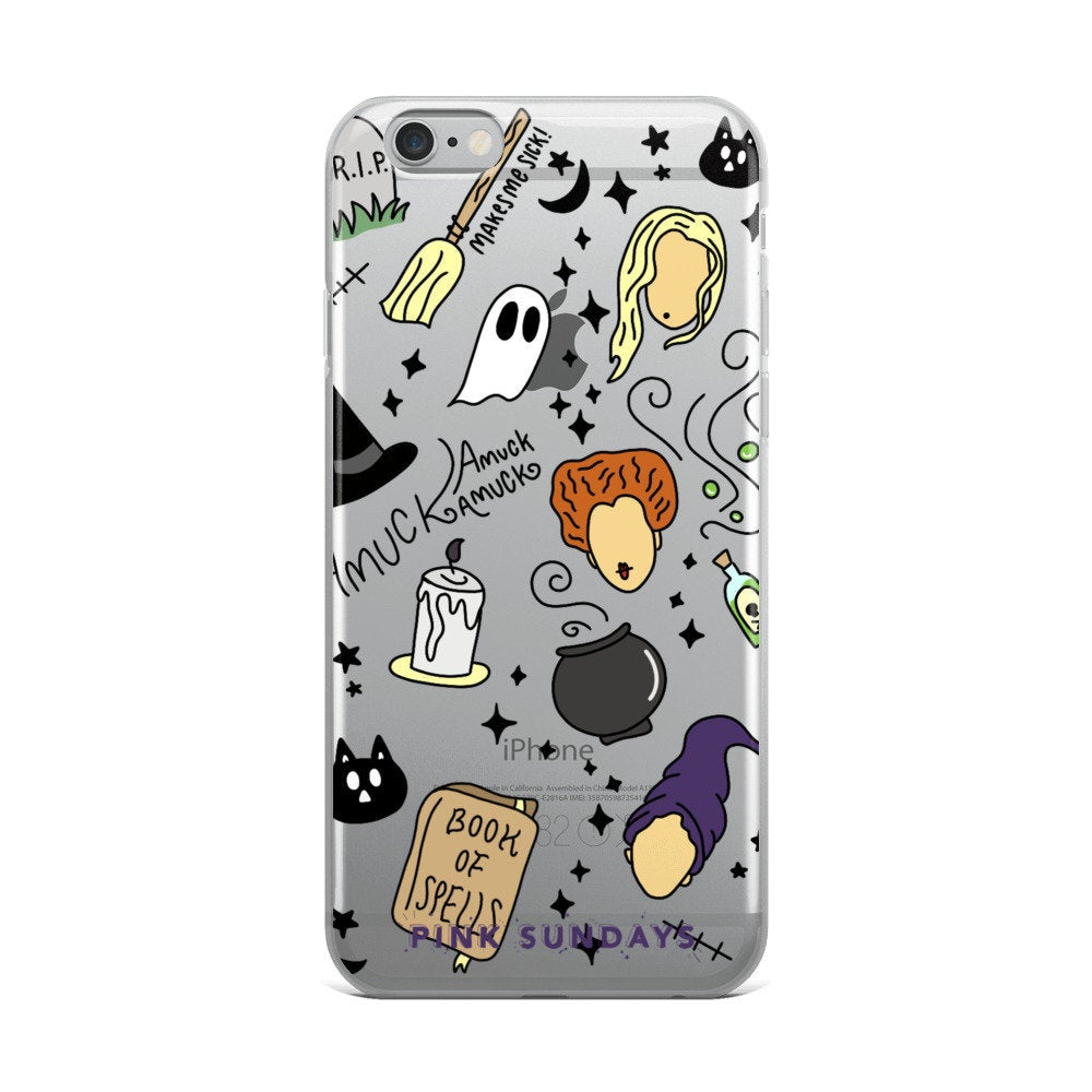 Sanderson Sisters Iphone Case, hocus, clear phone case, pocus case, halloween phone case, witch pattern, gift idea, holiday phone case, gift