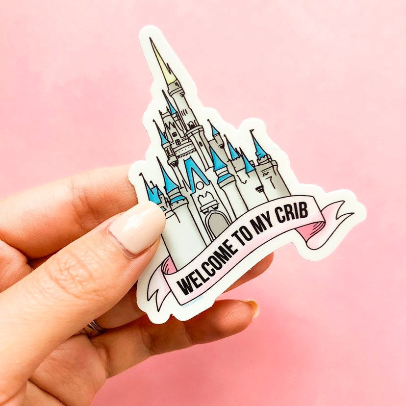 Welcome To My Crib Sticker, die cut sticker, disney stickers, disney computer stickers, laptop sticker, cinderella castle sticker, gift idea