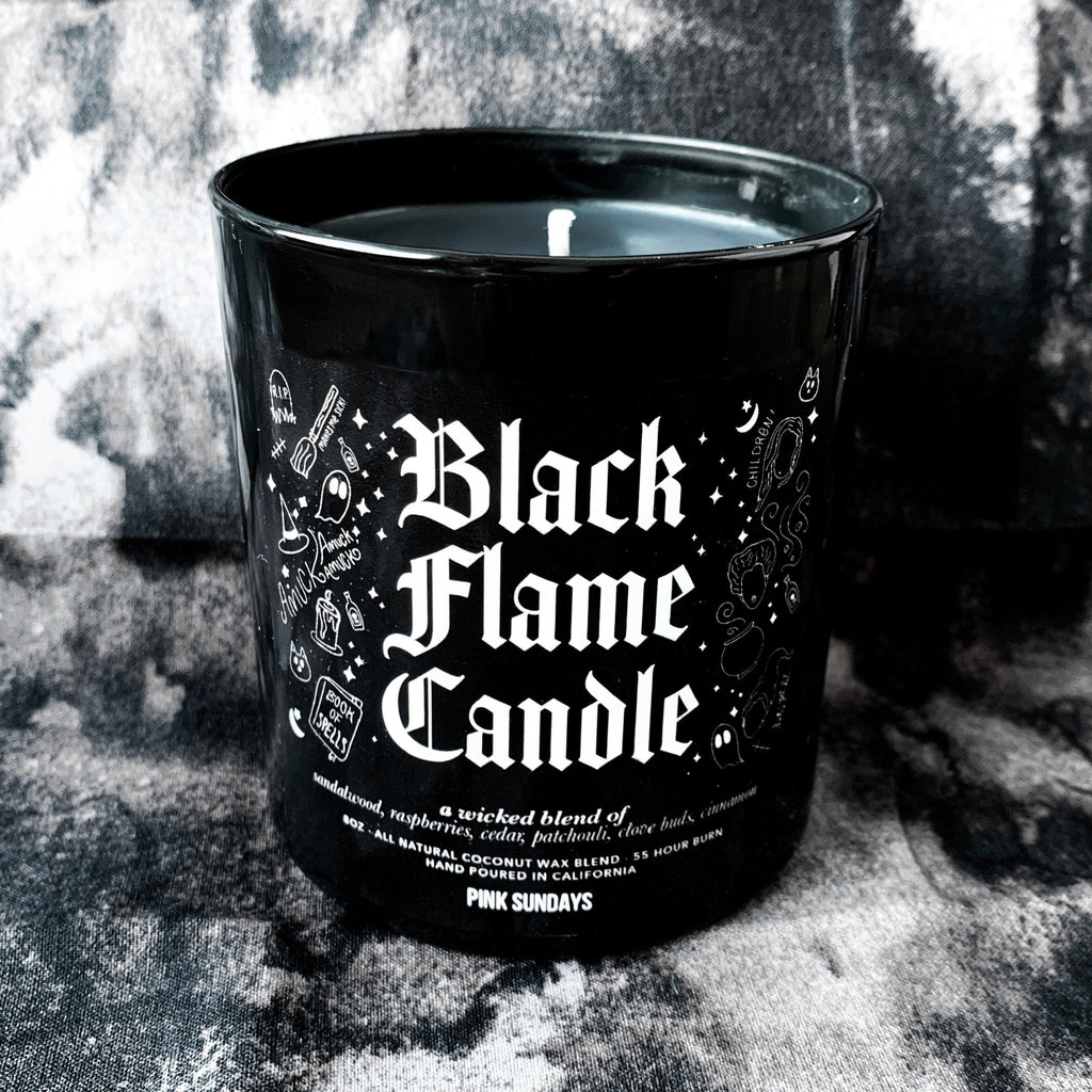 Black Flame Candle, halloween candle, hocus candle, halloween decor, home, black wax candle, coconut wax blend, pocus, gift idea, house gift