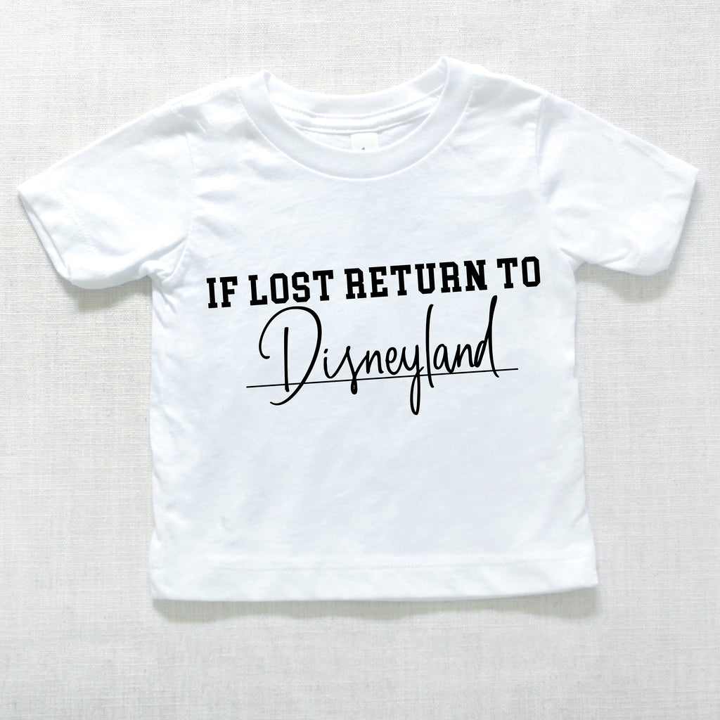 If Lost Return to Land baby graphic tee, kids graphic tees, kids tshirts, baby clothes, baby apparel, theme park tshirts for kids, vacation