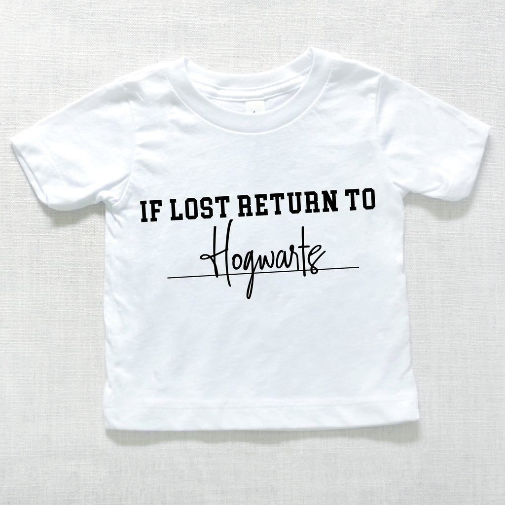 If Lost Return To Wizarding School Kids Graphic Tee, kids theme park tshirt, baby wizard shirt, baby clothes, baby tshirt, infant shirts