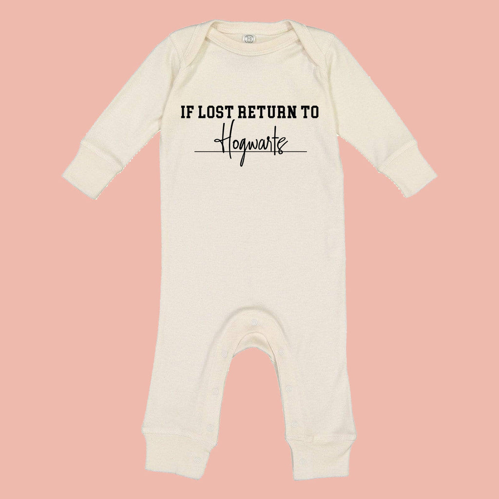 If Lost Return To Wizarding School Baby Romper, baby pjs, baby pajamas, baby wizard, theme park baby outfit, vacation baby, pop culture baby