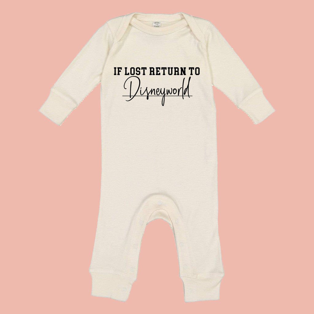 If Lost Return To World Baby Romper, orlando vacation baby outfit, baby clothes, newborn outfit, theme park baby, pop culture baby, gift