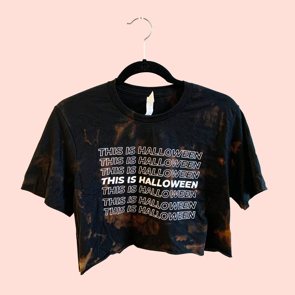 This Is Halloween acid wash cropped tee, halloween cropped tshirt, halloween tshirt, nightmare before xmas shirt, hand dyed, tie dye crop