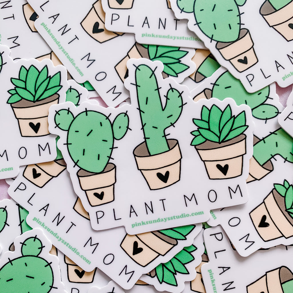 Plant Mom Sticker, Plant mom gift, die cut stickers, plant lady, plant lady gift, cactus illustration, cactus sticker, gift for her, laptop