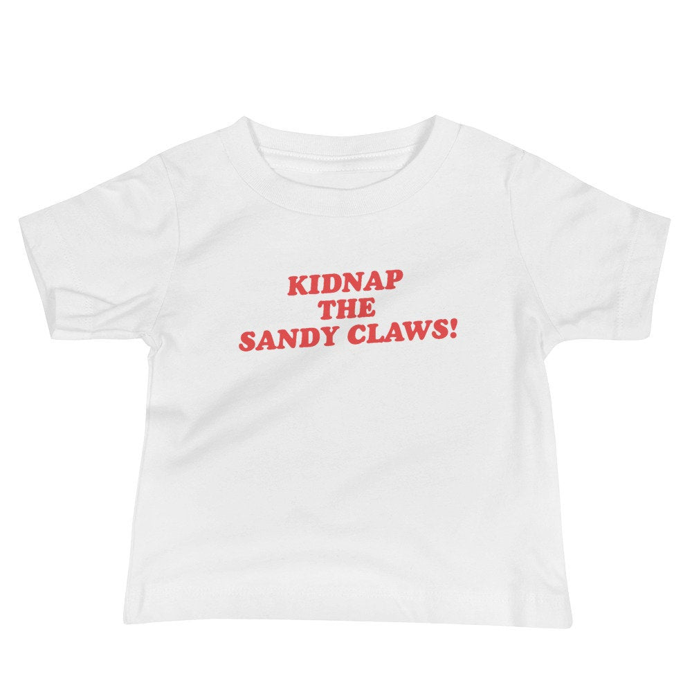 Kidnap The Sandy Claws, Baby Graphic Tee, Kids tshirts, baby halloween shirt, halloween tees for kids, nightmare before xmas, christmas tee