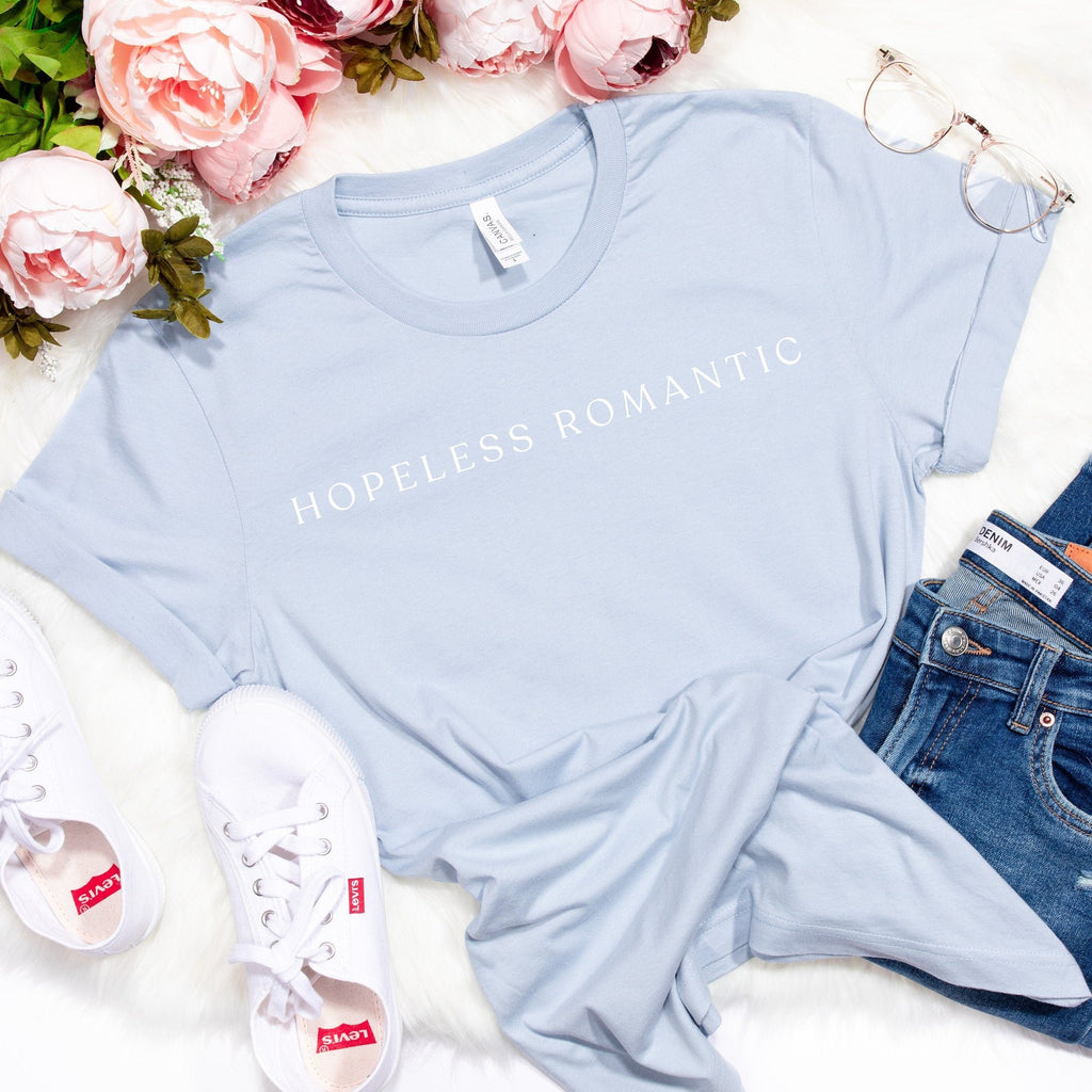 Hopeless Romantic Graphic Tee, baby blue tshirt, unisex fit, valentines day tee, galentines, graphic tshirt, minimalist valentines tee