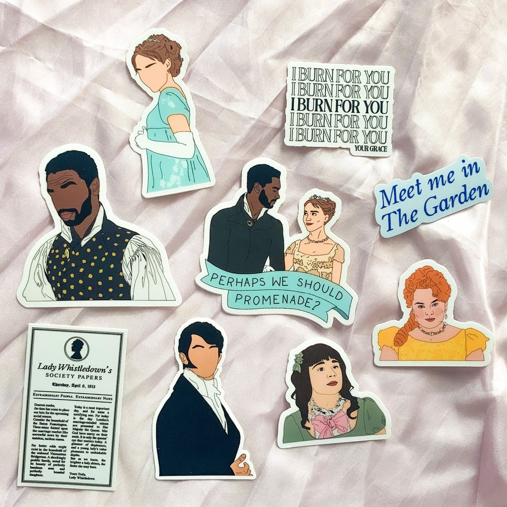 Diamond Of The Season Sticker Pack, Bridgerton sticker pack, hand drawn, tv show characters, die cut laptop stickers, illustrated stickers