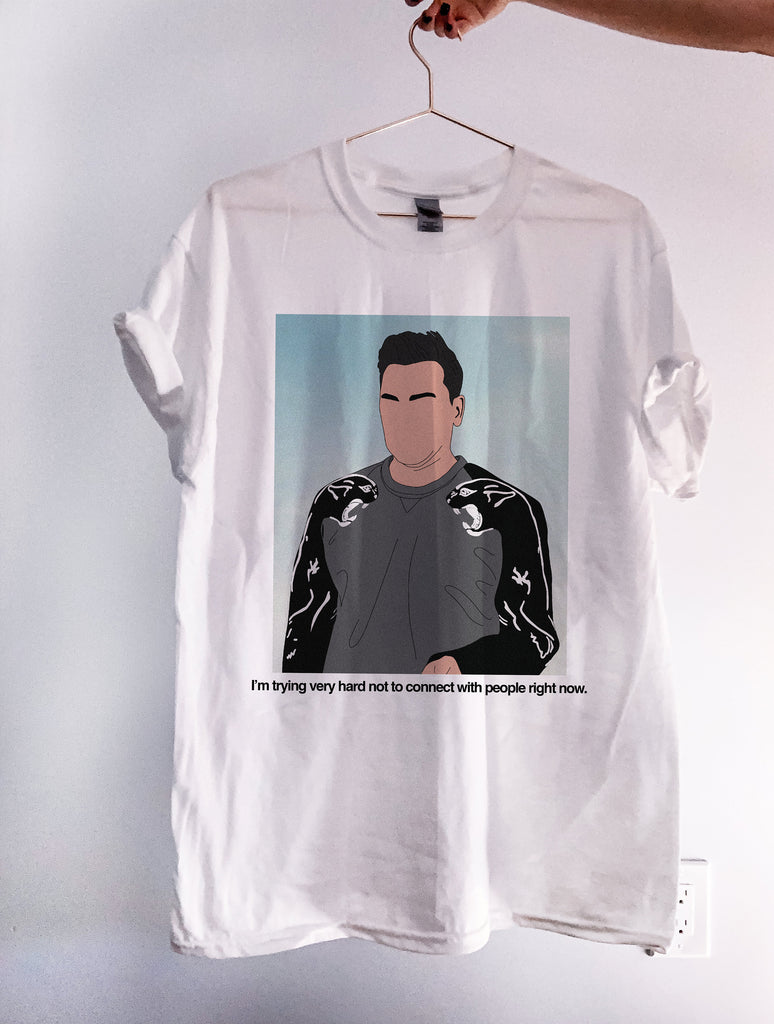I'm Trying Very Hard Not To Connect With People Right Now Graphic Tee, Schitts tshirt, david rose shirt, hand drawn illustration, fan art