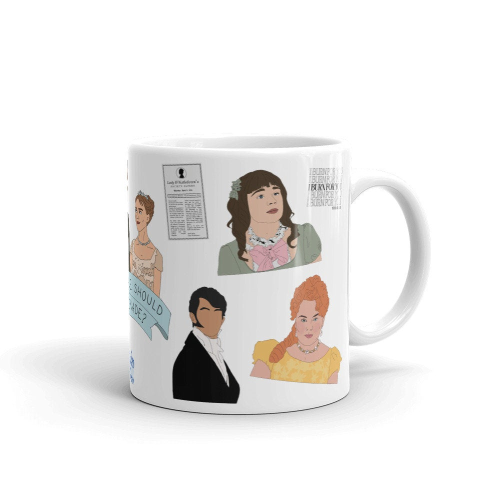 Diamond Of The Season Mug, coffee mug, tea mug, Bridgerton mug, hand drawn illustration pattern, pop culture mug, tv show characters, gift