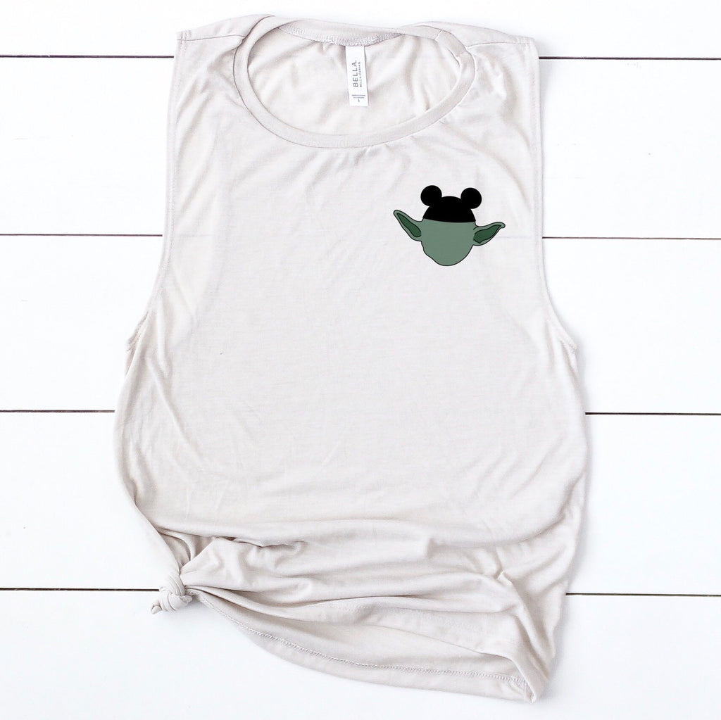 Mouse Ears Yoda Pocket Detail Muscle Tee - pinksundays