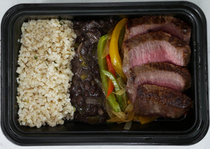 latin night with steak - cuban style black beans, fajita mix, cilantro lime cauliflower rice, chimichurri sauce