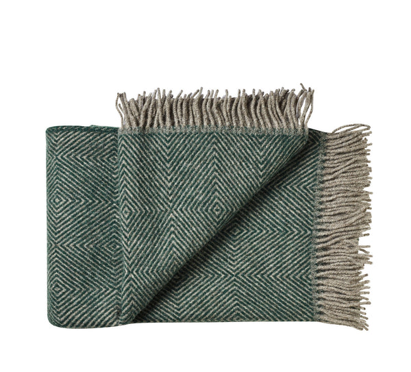 Silkeborg Uldspinderi ApS Fanø Plaid 140x240 cm Throw 0178 Dark Pine Green