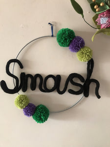 Superhero wire word SMASH hulk hoop art