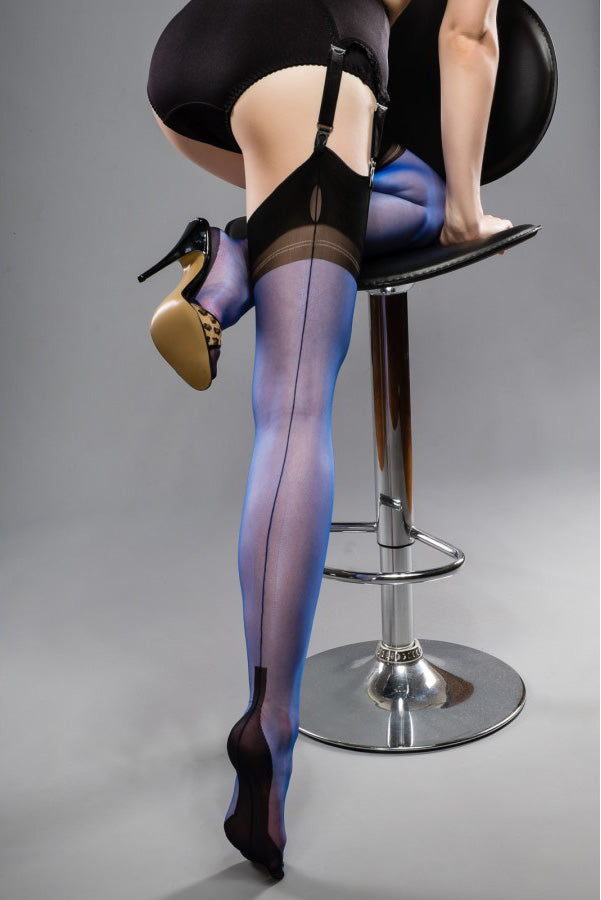 Fully Fashioned Cuban Heel Stockings- Full Contrast