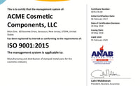 ACME Cosmetic Components reçoit la certification ISO 9001