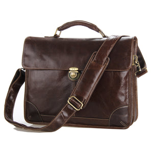 Vintage Mens Leather Briefcase Laptop Messenger Shoulder Bag - YAAGLE.com