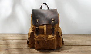 Thick Canvas Waxed Backpack with Leather Decoration #KS6002 - YAAGLE.com