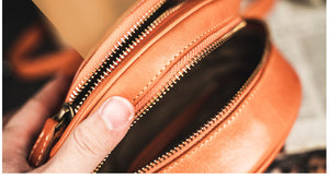YAAGLE Women Personalized Tanned Leather Round Shoulder Bags YG7120 - YAAGLE.com