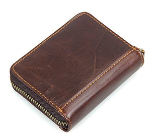 Vintage RFID Wallet for Men Genuine Leather Purse Mini Card Holder
