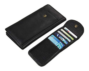 Everdoss Mens Genuine Leather Wallet Clutch Bag Black - YAAGLE.com