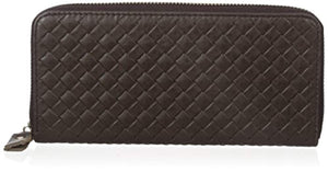 Everdoss Genuine Leather Clutch Wallet Bag with Woven Pattern Brown - YAAGLE.com