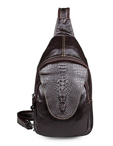 Mens Genuine Leather Sling Backpack with Crocodile Pattern - YAAGLE.com