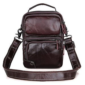Vintage Mens Small Cross Body Shoulder Genuine Leather Bag - YAAGLE.com