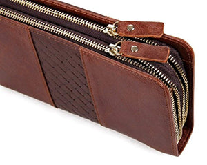 Everdoss Business Cowhide Genuine Leather Clutch Purse Bag Brown - YAAGLE.com