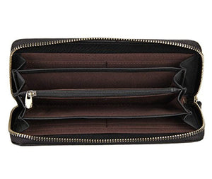 Everdoss Genuine Leather Clutch Wallet Bag with Woven Pattern Black - YAAGLE.com