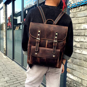 Vintage Soft Full Grain Leather Backpack YG6099 - YAAGLE.com