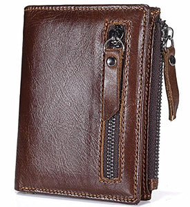 Mens Vintage Cowhide Leather Bifold Wallet With Credit Card Holder - YAAGLE.com
