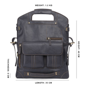 YAAGLE Mens  3-in-1 Leather Messenger Bag /Crossbody Bag /Briefcase Case /Vintage Genuine Leather College Backpack YG6388 - YAAGLE.com