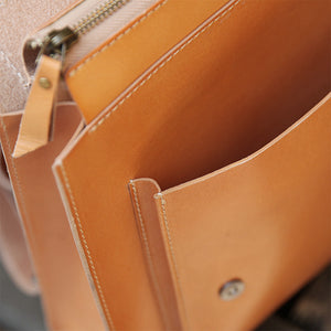 YAAGLE Unisex Bright Contrast Color Tanned Leather Backpack YGBR6026 - YAAGLE.com