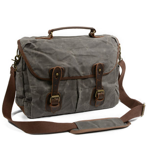 Classic Thick Waxed Canvas Cross body Tablet Messenger Bag #KS7002 - YAAGLE.com