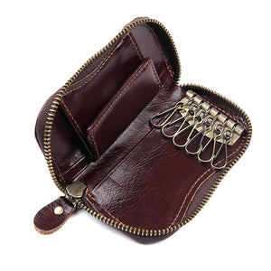 Everdoss Genuine Leather Key Wallet for Men Zipper Key Case Holder - YAAGLE.com
